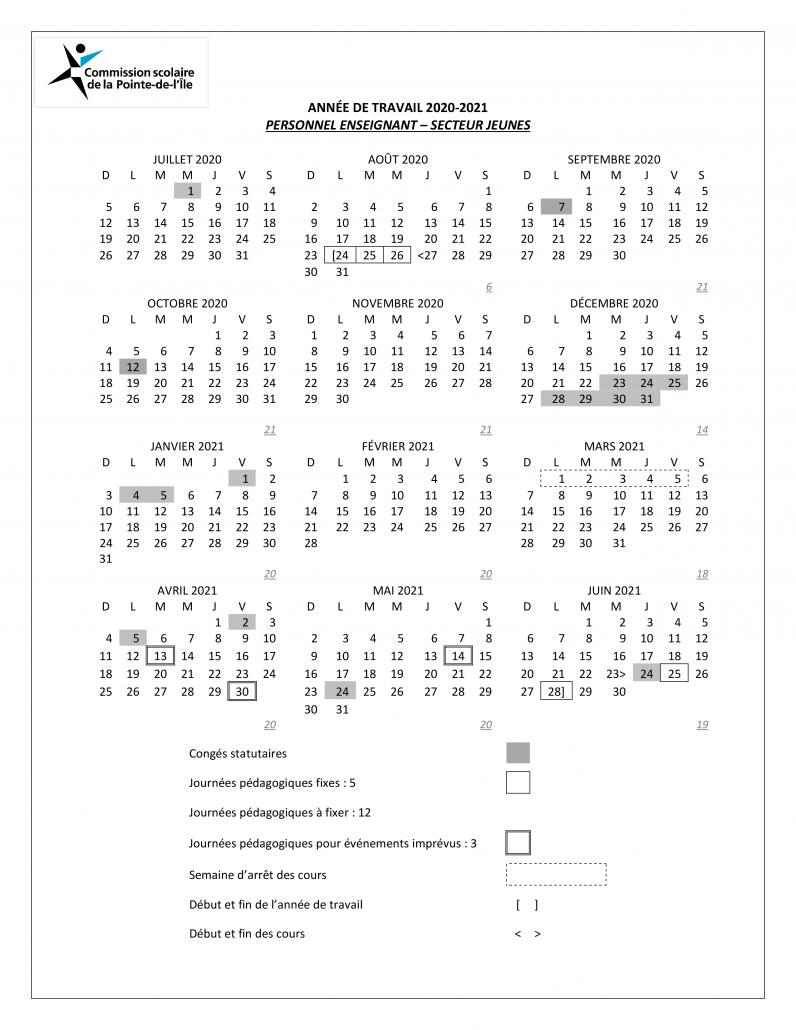 Calendriers pour l'année de travail 2020 2021   SEPÎ